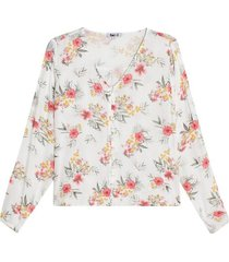 blusa con escote en v color blanco, talla 10