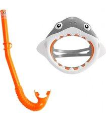 máscara de mergulho com snorkel tubarão divertido - intex