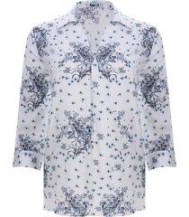 camisa mujer estampado floral color blanco, talla m