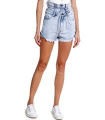 shorts john john alto otava jeans azul feminino (jeans claro, 50)