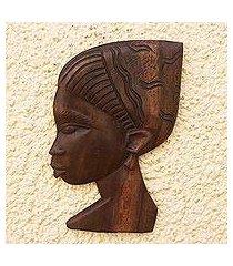 african wood relief panel, 'braided mama' (ghana)