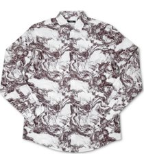 alfani men's abstract print woven cotton shirt, created for macy's