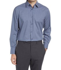 men's big & tall nordstrom traditional fit non-iron chambray dress shirt, size 18.5 - 36/37 - blue
