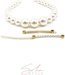soho style empress imitation pearl headband and forever pearls barrette, set of 2