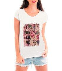 camiseta bata criativa urbana believe flowers acreditar flores - feminino