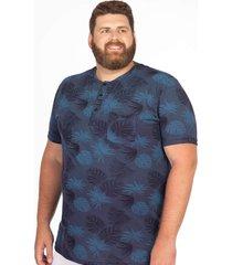 camiseta longford henley plus size estampada azul marinho - azul marinho - masculino - dafiti