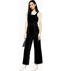 square neck denim jumpsuit - black