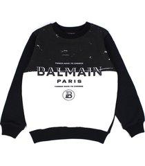 balmain black and white cotton sweatshirt
