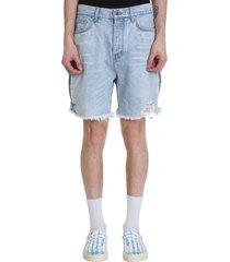 amiri shorts in cyan denim