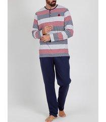 pyjama's / nachthemden admas for men pyjama broek top lange mouwen rayas jasper grijs admas