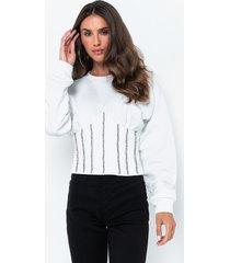 akira laid back long sleeve corset sweatshirt