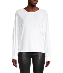 design 365 women's soft knit top - white - size l