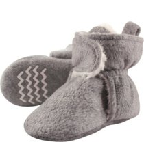 hudson baby sherpa lined scooties with non skid bottom, heather gray, 0-24 months