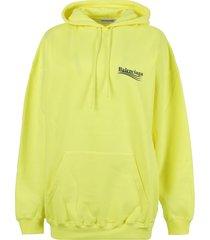 oversized fluorescent yellow logo hoodie