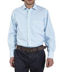 camisa algodón libre de arrugas celeste rockford