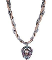 colar armazem rr bijoux gota entrelaçado couro - feminino