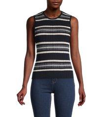 theory women's striped rib-knit top - dark black ecru - size m