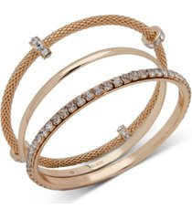 anne klein gold-tone 3-pc. set crystal bangle bracelets, created for macy's