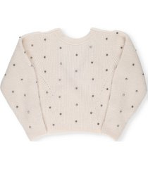 self-portrait sweater with applied crystals