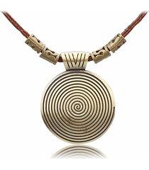 ciondolo tondo vintage collane in oro antico con collane lunghe in pelle per donna uomo