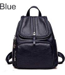 mochilas/ tejido de cuero de la pu mochila mujeres-azul