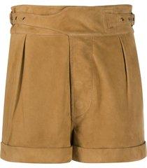 saint laurent buckle-detail pleated shorts - brown
