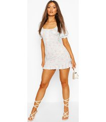 button front mini dress with puff sleeves, aqua