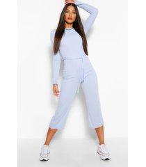 lang geribde broekrok-jumpsuit met knoopceintuur, blauw