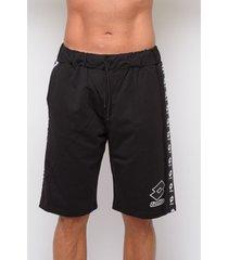 korte broek lotto sweatshirt print bermuda shorts (ltu018-zwart)