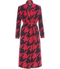 casaco feminino pied de poule - vermelho