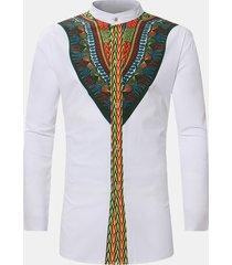 camicia casual in cotone misto stampa etnica