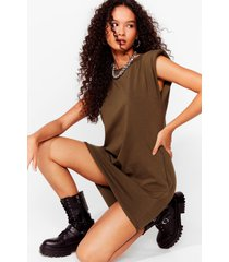 womens shoulder pad case of lovin' you jersey mini dress - khaki