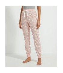 calça de pijama jogger em viscolycra estampa estrelinhas | lov | rosa | m