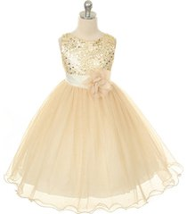gold sequined bodice flower girl dress birthday prom pageant bridesmaid wedding