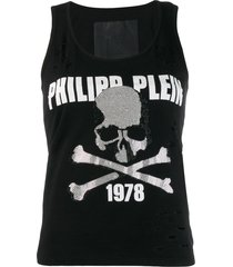 philipp plein destroyed tank top - black