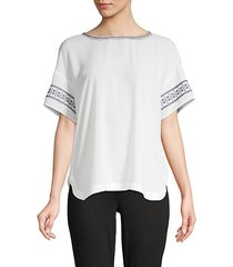 embroidered short-sleeve top