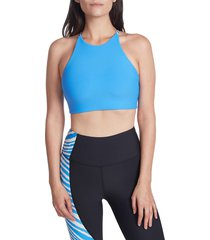 betsey johnson performance women's triangle looped extended sports bra - blue - size xs