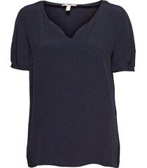 blouses woven blouses short-sleeved blå esprit casual