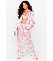 womens hold it stripe there satin pajama pants set - pink