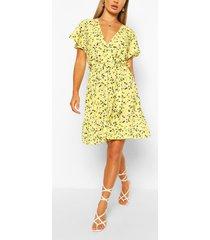 bloemenprint jurk met ceintuur en engelenmouwen, citroen