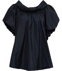alexander mcqueen black taffeta blouse with wide round neckline
