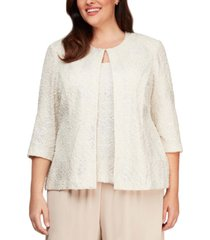 alex evenings plus size jacquard knit jacket & top set