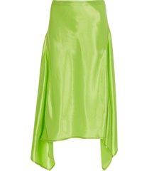 asymmetric draped side panels skirt green