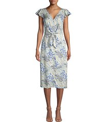 ava tie-front floral midi dress