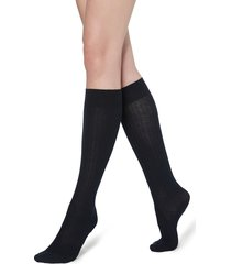 calzedonia - long ribbed socks with cotton and cashmere, 36-38, blue, women