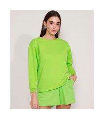 blusão amplo de moletom básico decote redondo verde
