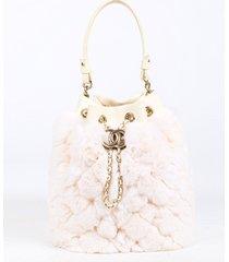 chanel white orylag rabbit fur drawstring cc bucket bag white/logo sz: s