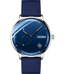 dom m-302 orologio da polso al quarzo casuale con quadrante tondo semplice con cinturino in pelle per uomo