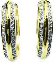 brinco kumbayá argola dupla semijoia banho de ouro 18k cravação de zircônias detalhe em ródio