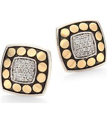 dot diamond, 18k yellow gold & sterling silver stud earrings